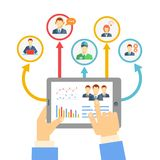 Remote business management concept. With a businessman holding a tablet showing analytics and graphs connected to a diverse team of people on a conferencing Stock Image