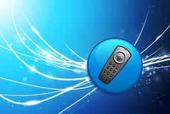 Remote Button on Blue Abstract Light Background Royalty Free Stock Image
