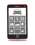 Remote car starter or control system mobile phone application.  Royalty Free Stock Photography