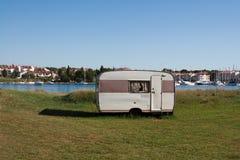 Remote caravan. Lonely caravan over looking sea bay in front of Cervar Porat, Istria, Croatia Stock Images