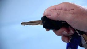 Remote Central Locking. Close up car key opening a car door with remote central locking stock video footage