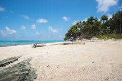 Remote Coast at Mystery Island. Remote beach on lush coastline with blue Pacific Ocean seascape at Mystery Island, Vanuatu Stock Photo