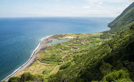 Remote coastal village on Sao Jorge Stock Photos