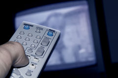 Remote control. With tv royalty free stock image