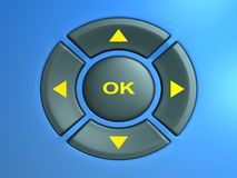 Remote Control. (3D rendered ortho view on the control buttons Stock Image