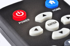 Remote Control. A remote control. Focus is on the power button Royalty Free Stock Image