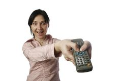 Remote control. A photo of woman with remote control Stock Photos