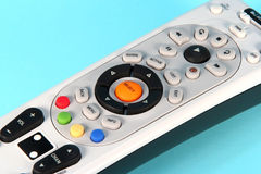 Remote Control. Colorful remote control on a light blue background Royalty Free Stock Photos