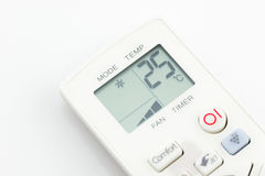 Remote control air conditioner on 25 degrees celsius isolated Royalty Free Stock Photography