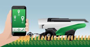 Remote control of autonomous combine harvester. Hand with phone. Remote control of autonomous combine harvester. Vector illustration Royalty Free Stock Image