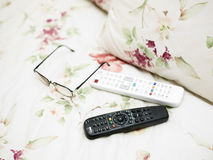 Remote Control On Bed stock photos