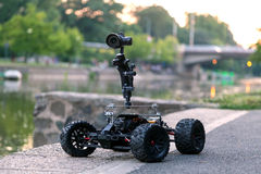 Remote control camera dolly. Custom made remote control vehicle camera dolly stock photography