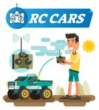 Remote control cars vector illustration. Boy with joystick buttons drive wireless car with antenna. Electronic off road wifi toy. Remote control cars vector stock illustration