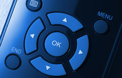Remote control colorized in blue Royalty Free Stock Photo