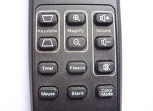 Remote control device for the multimedia device. Projector TV player royalty free stock photos