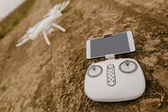 Remote control and drone before start stock photography