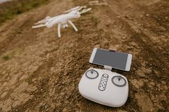 Remote control and drone before start royalty free stock images