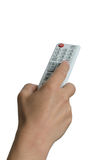 Remote control. Female hand pointing with a white remote control Stock Photography