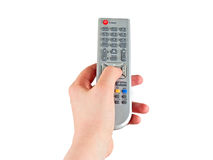 Remote control in hand Royalty Free Stock Photography