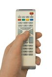Remote control in hand royalty free stock image