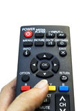 Remote control in hand Stock Image