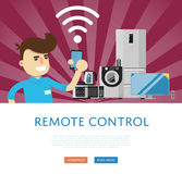 Remote control for household appliances concept Stock Images