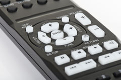 Remote control keypad black in closeup on white isolated Royalty Free Stock Photography
