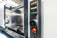 Remote control milling CNC. Manual control of the machine royalty free stock photo
