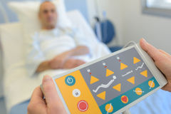Remote control patient bed in hospital Royalty Free Stock Image