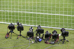 Remote control photocameras stand on the field Stock Photo