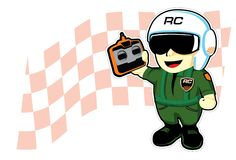 Remote control radio pilot cartoon. For rc hobby Royalty Free Stock Image