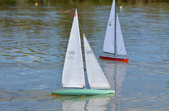 Remote control sailing yachts Stock Photos
