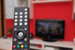 Remote control of TV Royalty Free Stock Photography