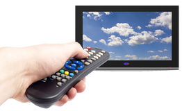 Remote control of tv set Stock Photo