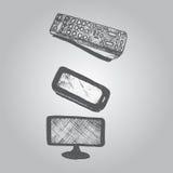 Remote control, tv, smartphone doodle Stock Photos