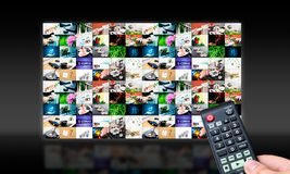 Free Remote Control With Virtual Multimedia Screen Stock Photography - 30787722