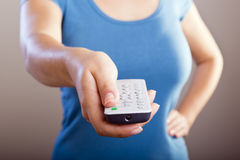 Remote Control Woman Stock Photo