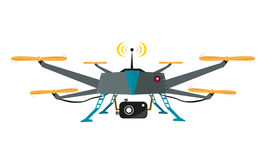 Remote Controlled Drone with Camera Vector. Flat Design. Flat illustration of a drone chopper with camera for aerial video shoot or photography. Vector EPS10 and royalty free illustration