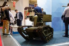 Kyiv, Ukraine - October 10, 2018: Remote controlled fighting vehicle. International Exhibition ARMS AND SECURITY 2018 stock images