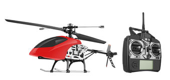 Remote controlled helicopter with controlling handset Stock Images