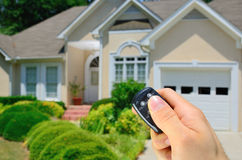 Remote Controlled House. Remote control lock to a home Stock Photography