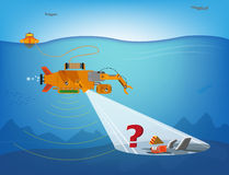 A remote controlled robot searching underwater for debris of planes, ships or more. Editable Clip Art. Stock Images