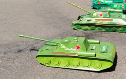 Remote Controlled Russian Tanks Waiting Stock Photo