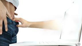 Online sex. Hand reaching out of laptop monitor and grabbing someones pants Royalty Free Stock Image