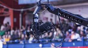 Remote controlled tv camera at indoor event stock photos