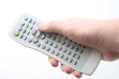Remote controller. In a men's hand Stock Photo