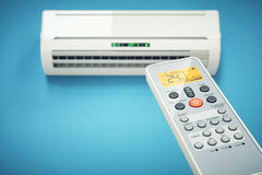 Remote controller of air conditioner indoor Stock Photography