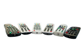 Remote controls. On a white background Stock Photos