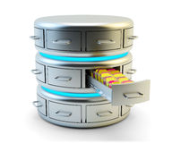 Remote data storage, cloud computing service and network server technology concept Stock Image