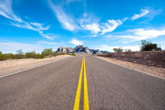Remote desert road Royalty Free Stock Images